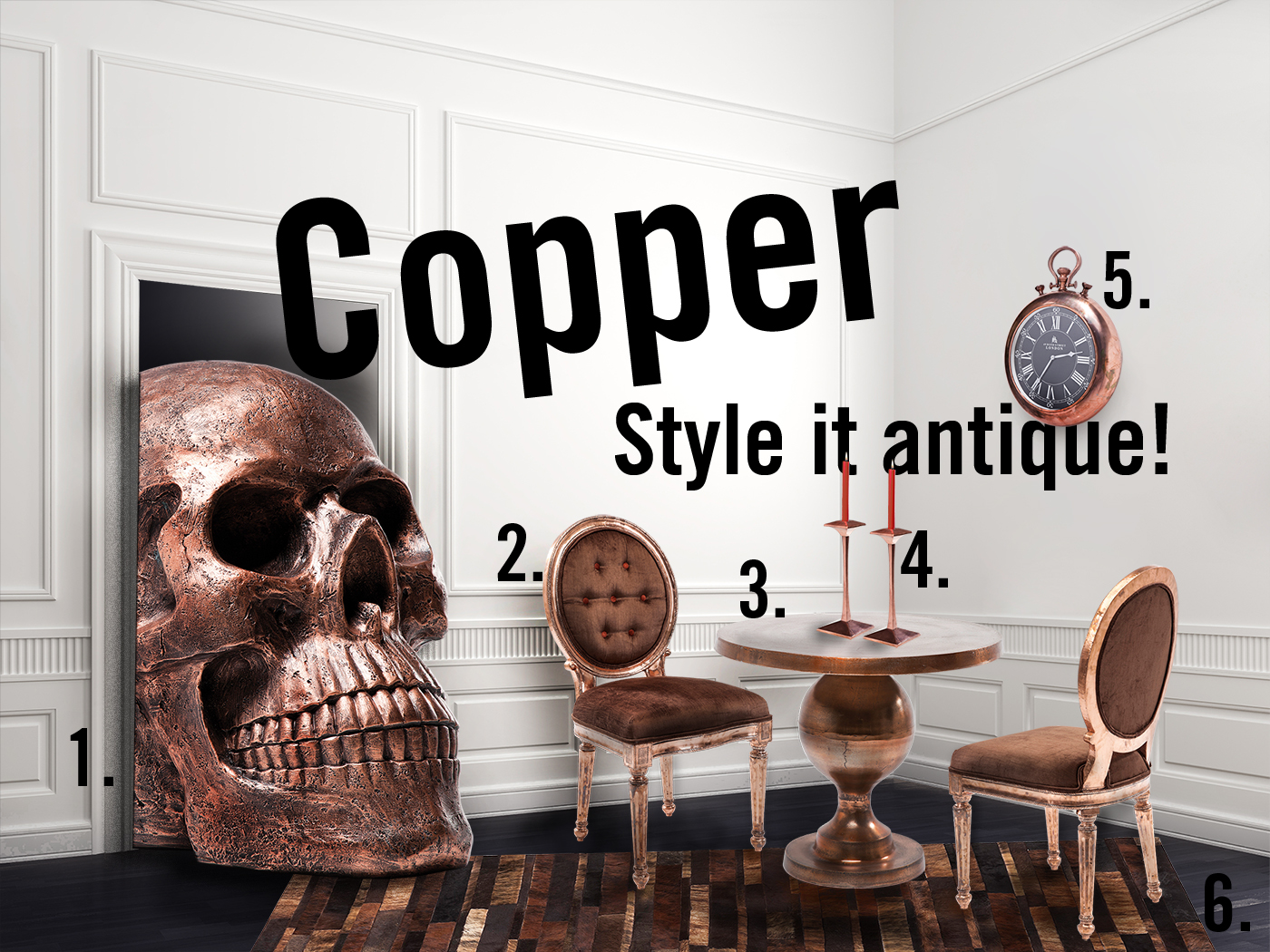 But copper has many different faces. It begins with the shades: the spectrum of this wonderful material ranges from brown to pastel pink and more. Here are two totally different looks: