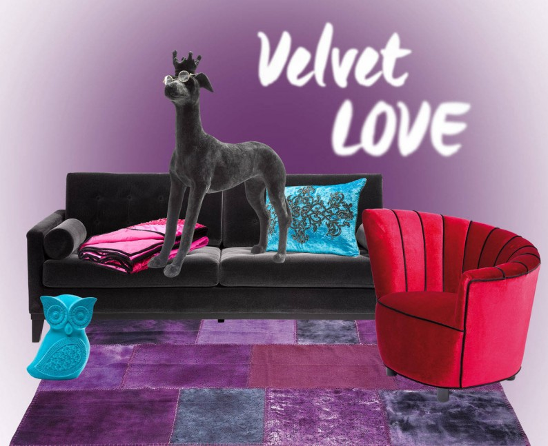 The cuddly velvet material is pure cosyness. Its glamorous play of light and shadow makes colors look particularly deep and luscious. Read more!