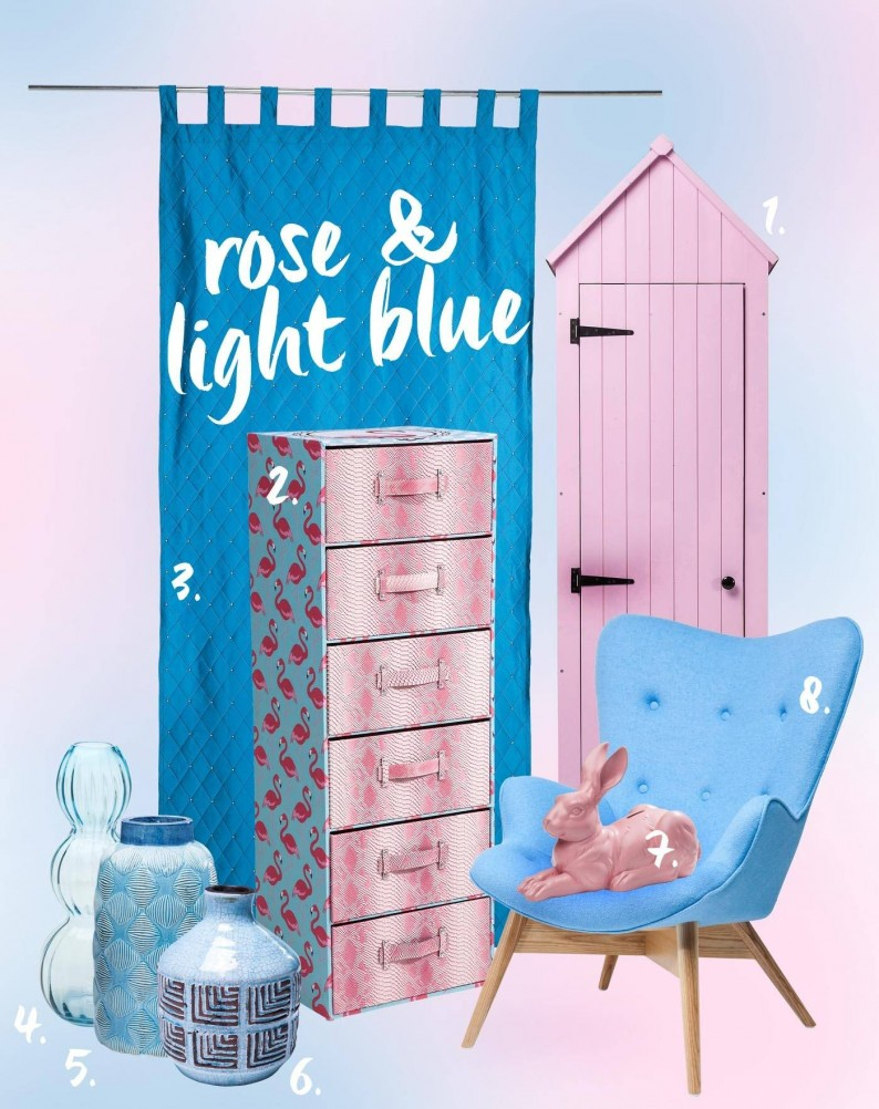 We love the new Pantone color trend in 2016 and have assembled the best products for the apartment in featherlight blue and rose. But do not worry - these pieces may also be combined with other colors. For example, with deep green, amethyst, khaki, silver and light gray.   1. Cabinet Beach Club Pink |2. Cabinet Patchwork Flamingo |3. Curtain Starry Sky Turquise |4. Vase Cascade Light Blue |5. Vase Palm Springs Blue |6. Deco Vase Muse Blue |7. Moneybox Chilled Rabbit Pink |8. Armchair Angels Wings blue Eco   Delicate blue and light pink? We know this combination from somewhere! Is anyone not thinking of a nascent parents couple who are considering, in what color to paint the nursery? For generations blue and pink colors were a symbol for the sex of the child. Now the fusion of these two colors stands for the dissolution of gender roles. And it refers to the completion of dusty clichés, because men can definitely wear pink. Well, at least some.   This is where the color trend 2016 is chosen: