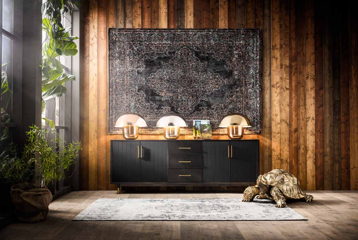 teppich f r die wand als collage oder mit pouf dores styling. Black Bedroom Furniture Sets. Home Design Ideas